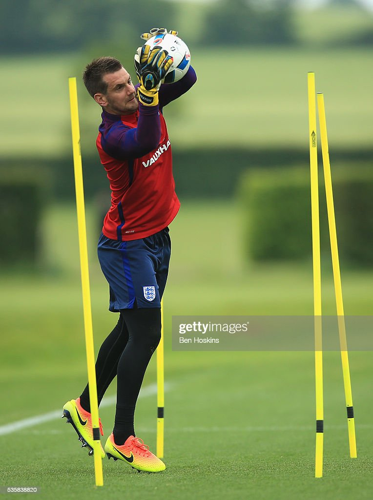 Tom Heaton of England warms up during an England training session at St Georges Park on May 30, 2016 in Burton on Trent, England.