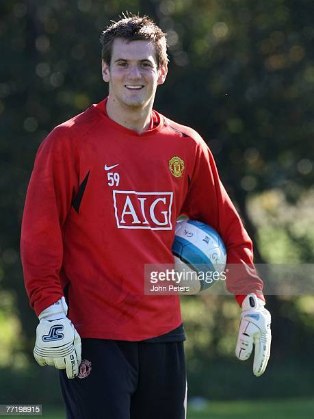 Tom Heaton of Manchester United in action during a First Team Training Session at Carrington Training Ground on October 5 2007 in Manchester England
