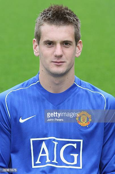 Tom Heaton of Manchester United poses during the club's official annual photocall at Old Trafford on August 28 2007 in Manchester England