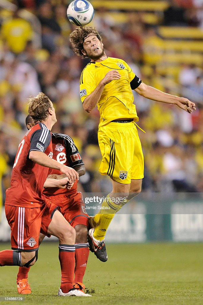 Tom Heinemann #32 of the Columbus Crew takes control of the ball against Toronto FC on September 10, 2011 at Crew Stadium in Columbus, Ohio. Toronto FC defeated Columbus 4-2 to take the Trillium Cup for the first time.