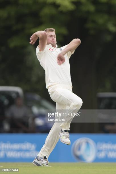Tom Helm of England Lions runs into bowl during the tour match between England Lions and South Africa A at New Road on June 29 2017 in Worcester...