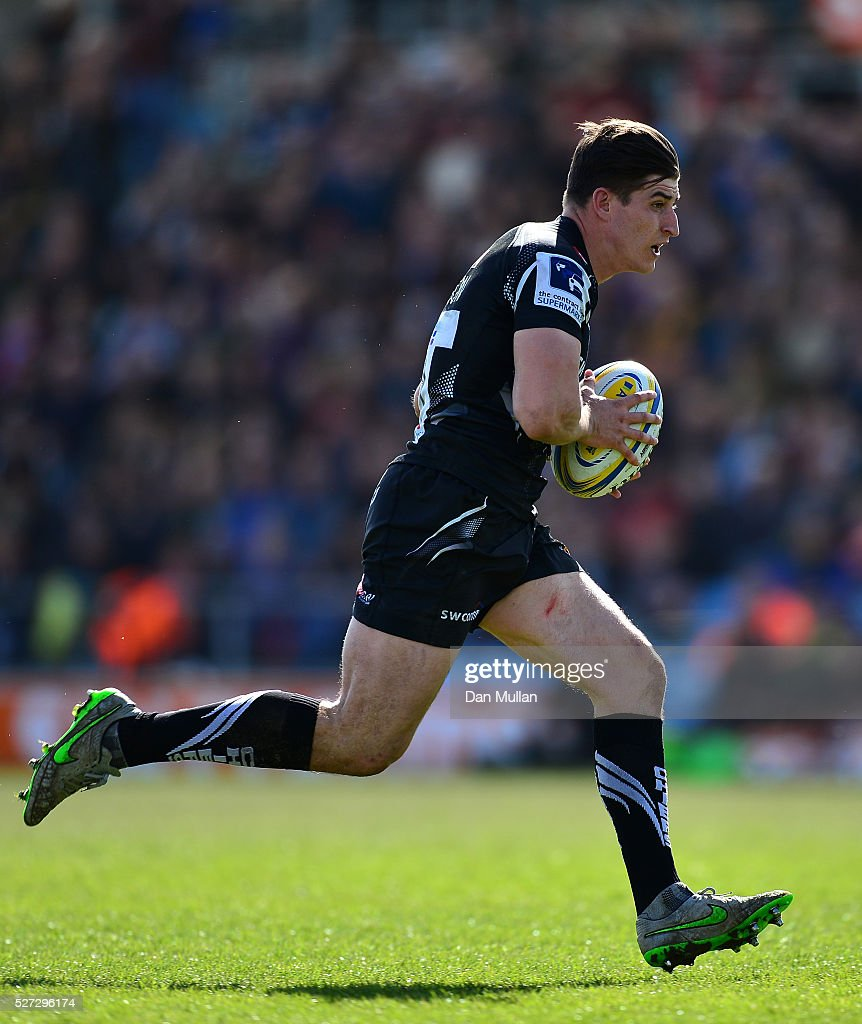 Tom Hendrickson of Exeter Braves makes a break to score a try during the Aviva Premiership A League Final between Exeter Braves and Northampton Wanderers at Sandy Park on May 02, 2016 in Exeter, England.