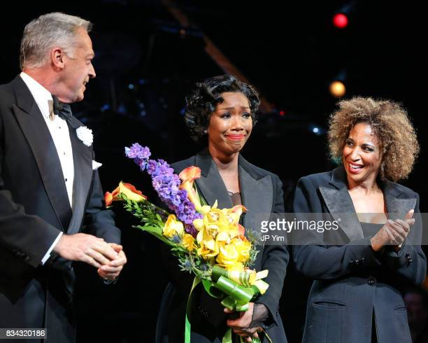 Tom Hewitt Brandy Norwood and Lana Gordon onstage for the curtain call of 'Chicago' on Broadway at the Ambassador Theatre on August 17 2017 in New...