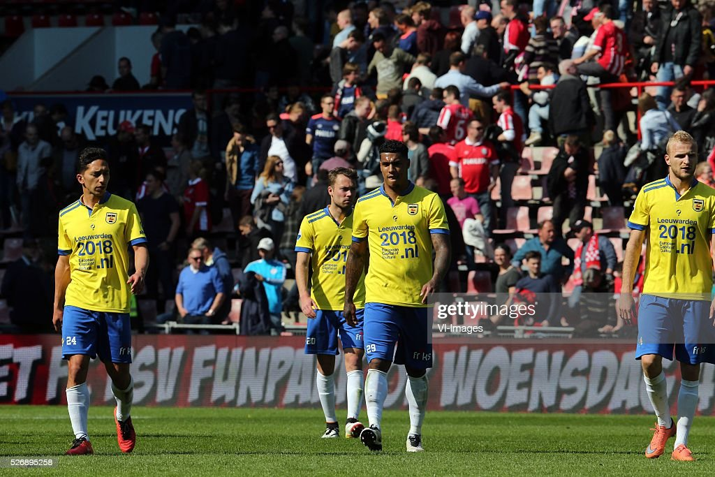 Tom Hiariej of SC Cambuur, Sander van de Streek of SC Cambuur, Darryl Lachman of SC Cambuur, Vytautas Andriuskevicius of SC Cambuur during the Dutch Eredivisie match between PSV Eindhoven and SC Cambuur Leeuwarden at the Phillips stadium on May 01, 2016 in Eindhoven, The Netherlands