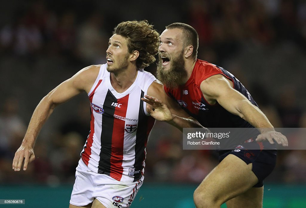 Tom Hickey of the Saints and Max Gawn of the Demons compete for the ball during the round six AFL match between the Melbourne Demons and the St Kilda Saints at Etihad Stadium on April 30, 2016 in Melbourne, Australia.