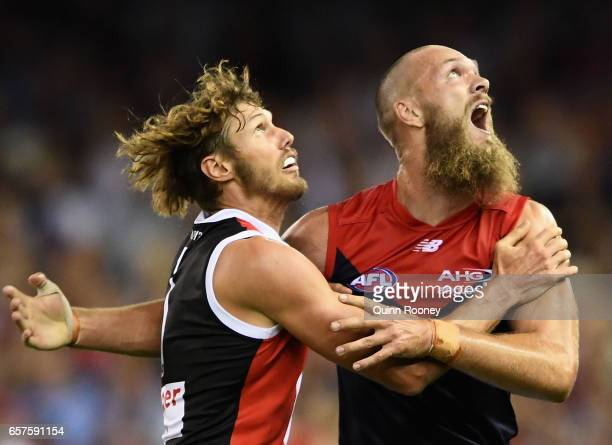Tom Hickey of the Saints and Max Gawn of the Demons compete in the ruck during the round one AFL match between the St Kilda Saints and the Melbourne...