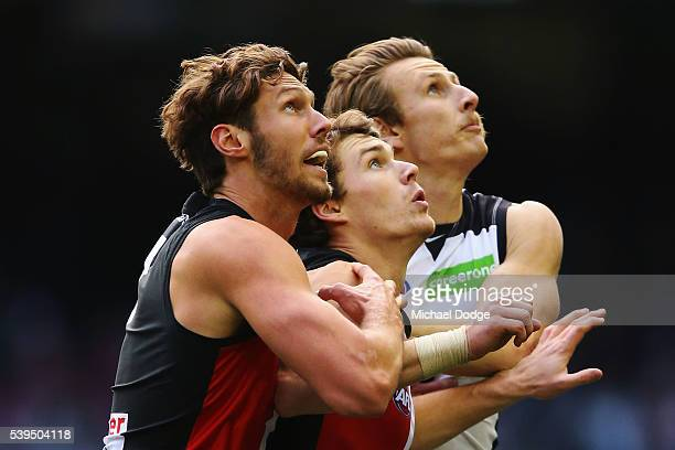 Tom Hickey of the Saints and Tom Lee compete for the ball against Daniel Gorringe of the Blues during the round 12 AFL match between the St Kilda...