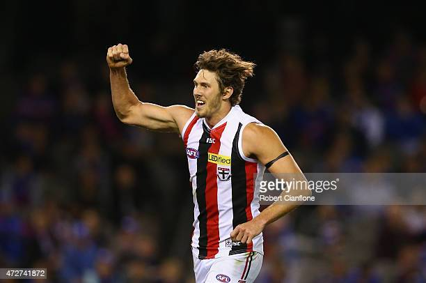 Tom Hickey of the Saints celebrates after scoring a goal during the round six AFL match between the Western Bulldogs and the St Kilda Saints at...