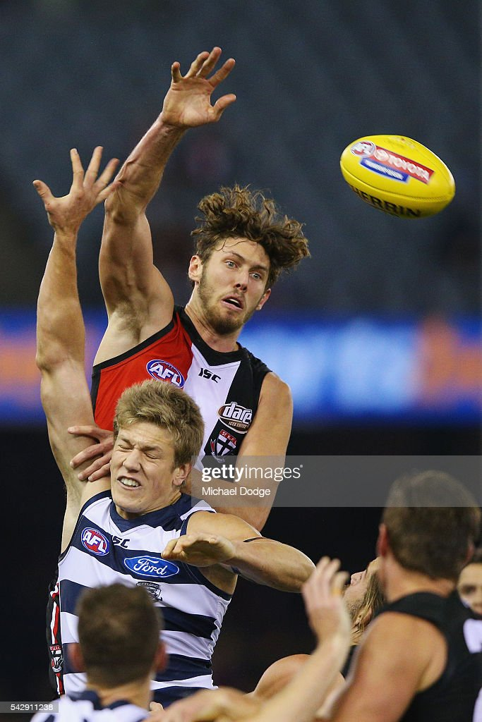 Tom Hickey of the Saints competes for the ball over Rhys Stanley of the Cats during the round 14 AFL match between the St Kilda Saints and the Geelong Cats at Etihad Stadium on June 25, 2016 in Melbourne, Australia.