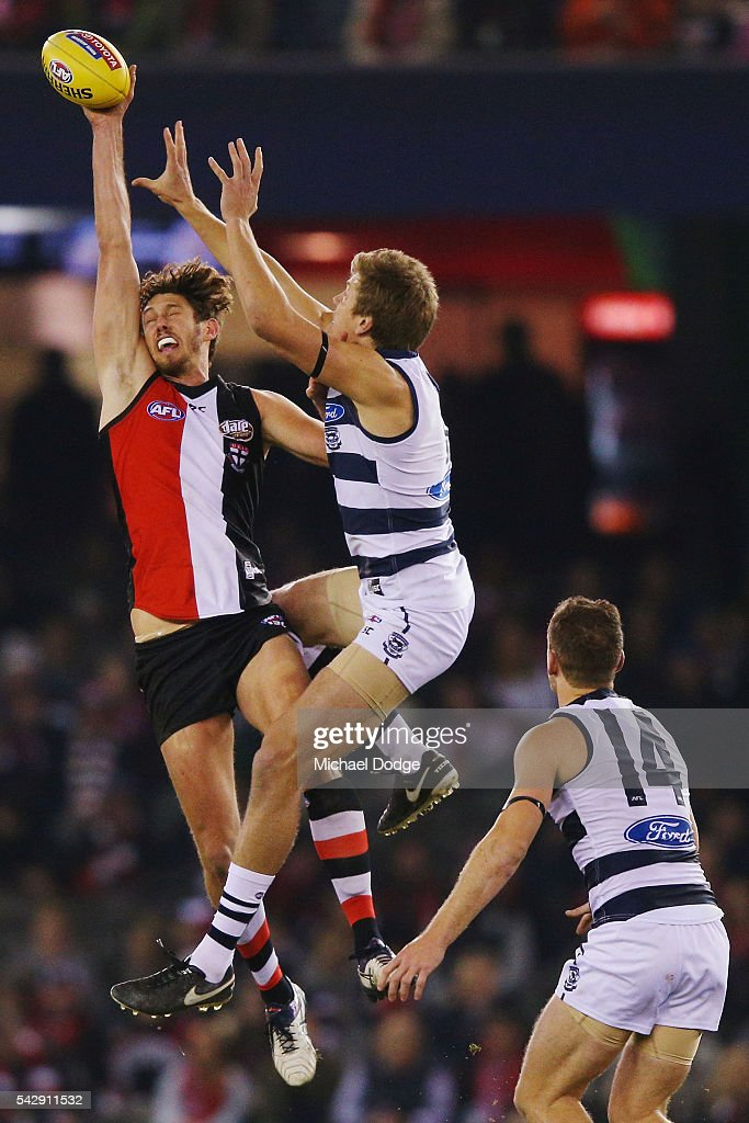 Tom Hickey of the Saints (L) competes for the ball over Rhys Stanley of the Cats during the round 14 AFL match between the St Kilda Saints and the Geelong Cats at Etihad Stadium on June 25, 2016 in Melbourne, Australia.