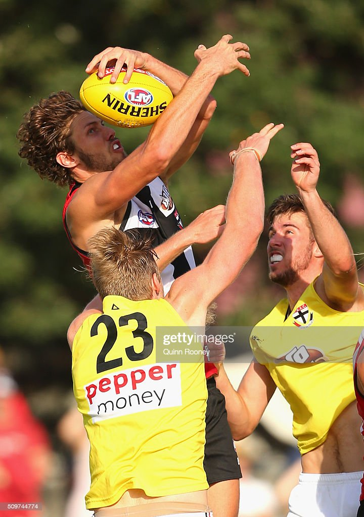 Tom Hickey of the Saints marks during the St Kilda Saints AFL Intra-Club Match at Trevor Barker Beach Oval on February 12, 2016 in Melbourne, Australia.