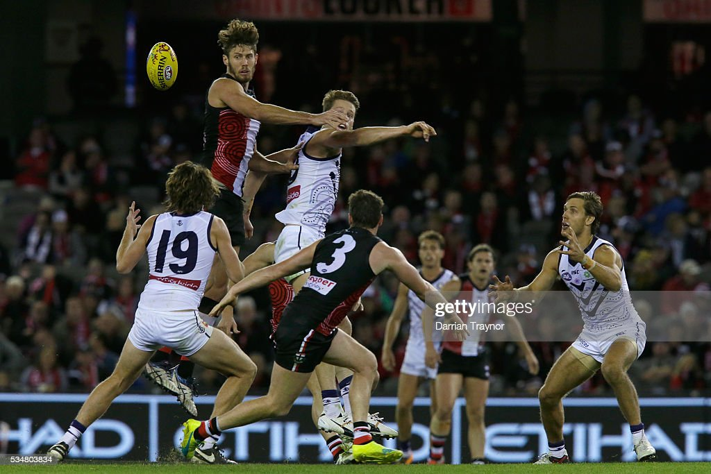 Tom Hickey of the Saints wins a hit out during the round 10 AFL match between the St Kilda Saints and the Fremantle Dockers at Etihad Stadium on May 28, 2016 in Melbourne, Australia.