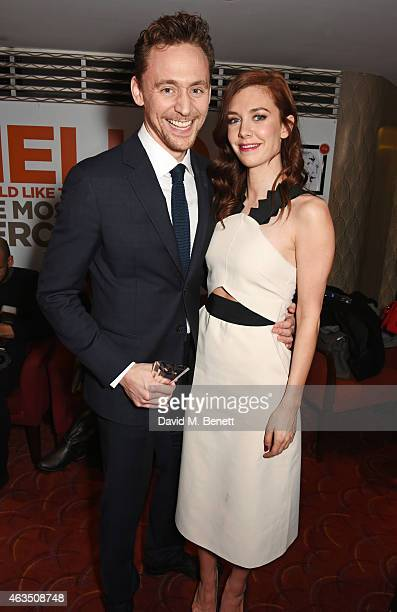 Tom Hiddleston accepting the award for Best Play Revival for 'Coriolanus' and Vanessa Kirby winner of Best Supporting Actress in a Play for 'A...