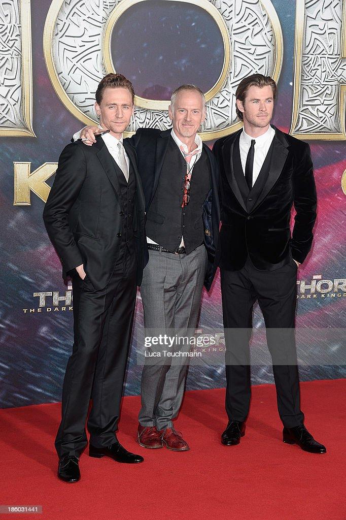 Tom Hiddleston, Alan Taylor and Chris Hemsworth arrive for