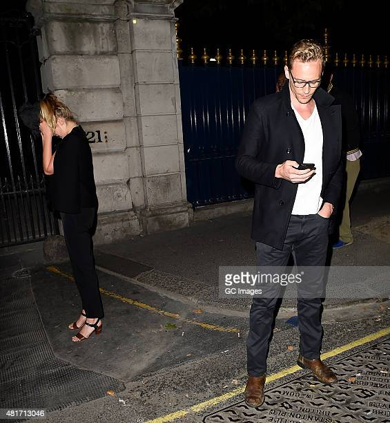 Tom Hiddleston and Elizabeth Olsen leave The Worseley restaurant in Mayfair on July 23 2015 in London England