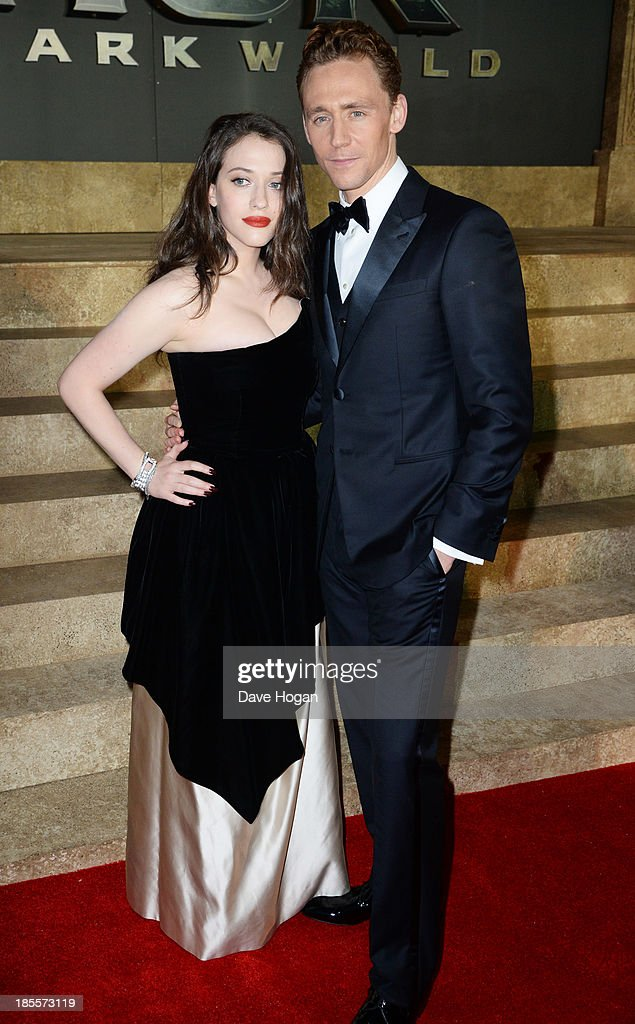 Tom Hiddleston and Kat Dennings attend the world premiere of 'Thor: The Dark World' at The Odeon Leicester Square on October 22, 2013 in London, England.