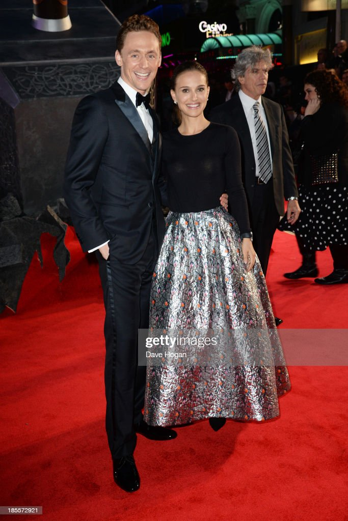 <a gi-track='captionPersonalityLinkClicked' href=/galleries/search?phrase=Tom+Hiddleston&family=editorial&specificpeople=4686407 ng-click='$event.stopPropagation()'>Tom Hiddleston</a> and <a gi-track='captionPersonalityLinkClicked' href=/galleries/search?phrase=Natalie+Portman&family=editorial&specificpeople=202035 ng-click='$event.stopPropagation()'>Natalie Portman</a> attend the world premiere of 'Thor: The Dark World' at The Odeon Leicester Square on October 22, 2013 in London, England.