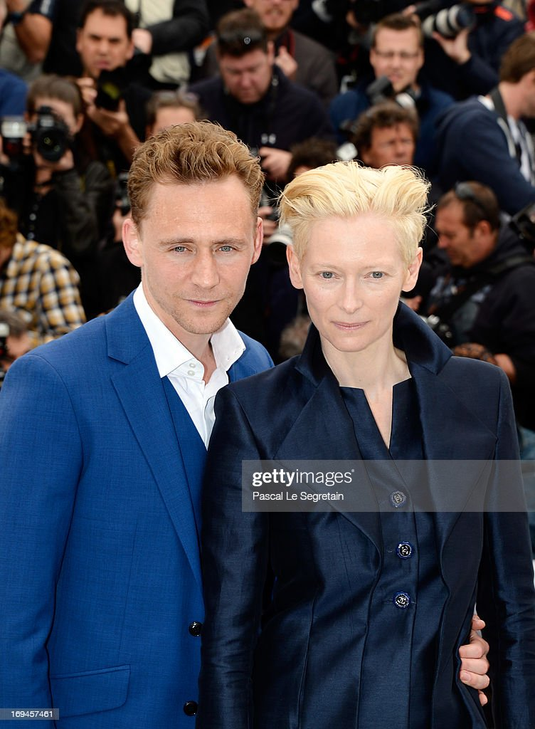 <a gi-track='captionPersonalityLinkClicked' href=/galleries/search?phrase=Tom+Hiddleston&family=editorial&specificpeople=4686407 ng-click='$event.stopPropagation()'>Tom Hiddleston</a> and <a gi-track='captionPersonalityLinkClicked' href=/galleries/search?phrase=Tilda+Swinton&family=editorial&specificpeople=202991 ng-click='$event.stopPropagation()'>Tilda Swinton</a> attend the 'Only Lovers Left Alive' Photocall during The 66th Annual Cannes Film Festival on May 25, 2013 in Cannes, France.