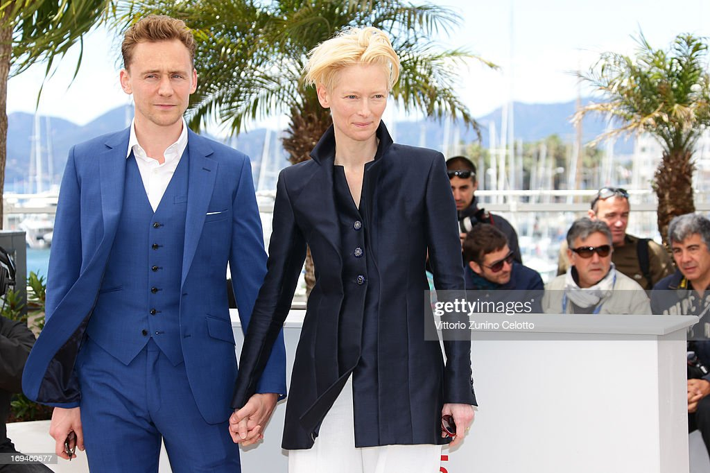 Tom Hiddleston and Tilda Swinton attend the 'Only Lovers Left Alive' photocall during The 66th Annual Cannes Film Festival at Palais des Festival on May 25, 2013 in Cannes, France.
