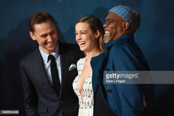Tom Hiddleston Brie Larson and Samuel L Jackson attend the European premiere of 'Kong Skull Island' on February 28 2017 in London England