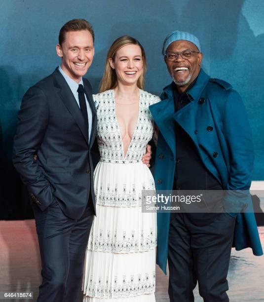 Tom Hiddleston Brie Larson and Samuel L Jackson attend the European premiere Of 'Kong Skull Island' on February 28 2017 in London United Kingdom