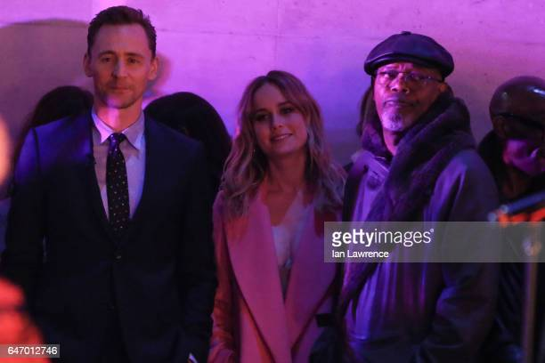 Tom Hiddleston Brie Larson and Samuel L Jackson seen at the BBC Studios for The One Show on March 1 2017 in London England