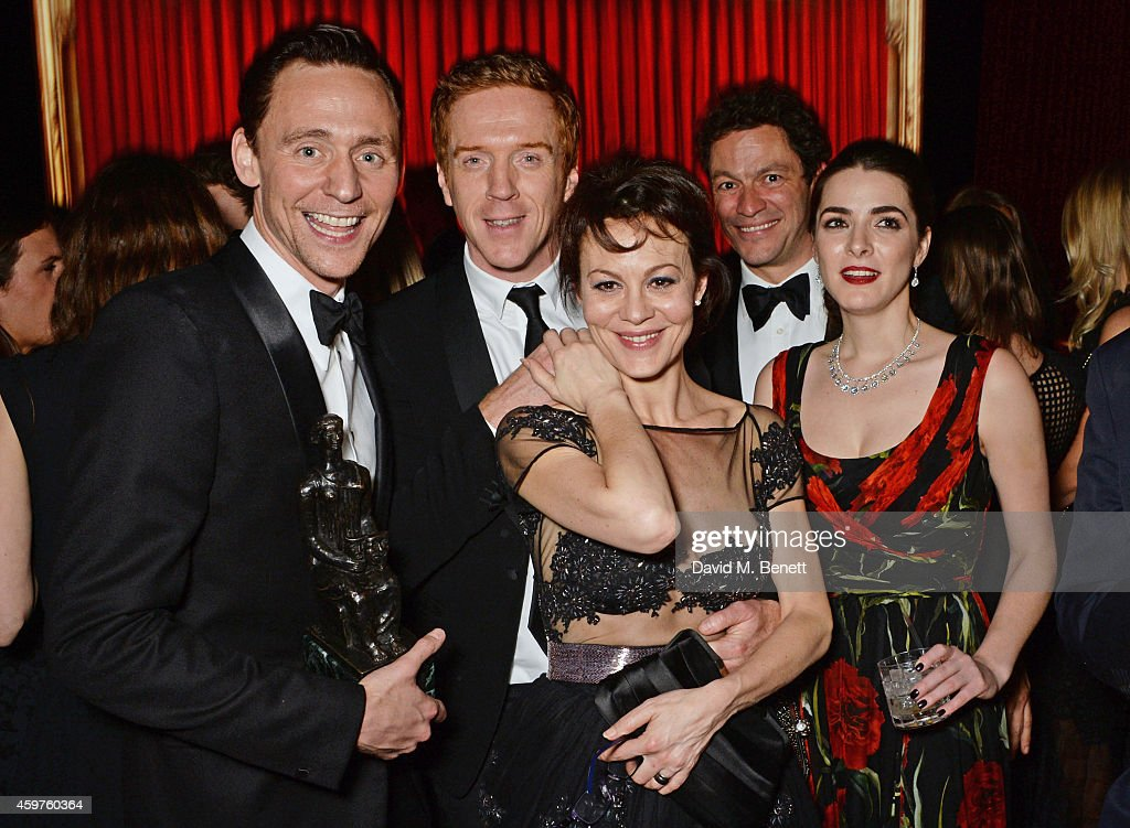 Tom Hiddleston, Damian Lewis, Helen McCrory, Dominic West and Bee Shaffer attend an after party following the 60th London Evening Standard Theatre Awards at the London Palladium on November 30, 2014 in London, England.