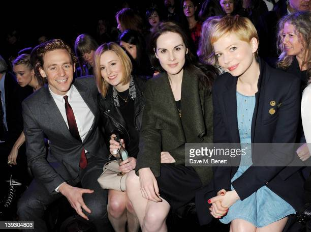 Tom Hiddleston Laura Carmichael Michelle Dockery and Michelle Williams sit in the front row at the Mulberry Autumn/Winter 2012 show during London...