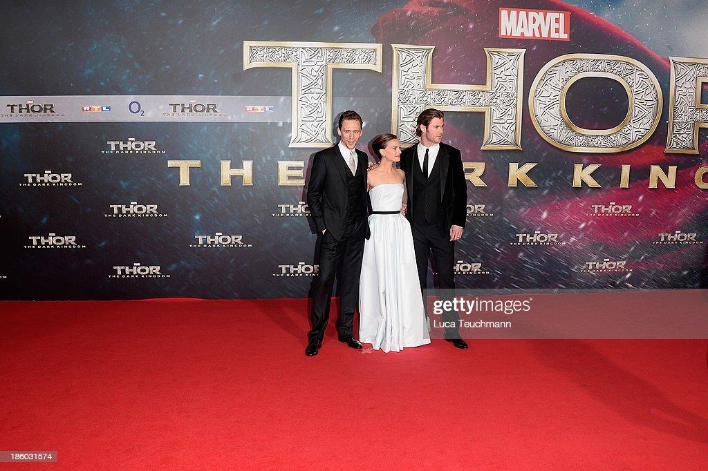 Tom Hiddleston, Natalie Portman and Chris Hemsworth arrive for