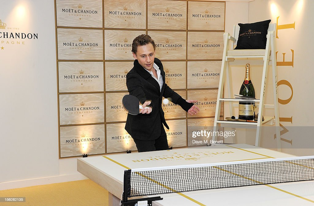 <a gi-track='captionPersonalityLinkClicked' href=/galleries/search?phrase=Tom+Hiddleston&family=editorial&specificpeople=4686407 ng-click='$event.stopPropagation()'>Tom Hiddleston</a> plays ping-pong at the Moet & Chandon VIP Suite during day eight of the ATP World Finals at the O2 Arena on November 12, 2012 in London, England.