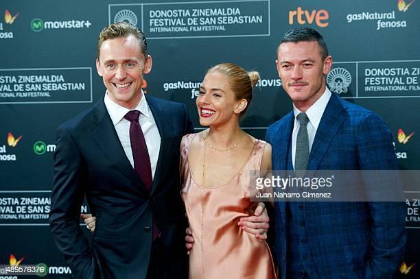 Tom Hiddleston Sienna Miller and Luke Evans attend 'HighRise' premiere during 63rd San Sebastian Film Festival on September 22 2015 in San Sebastian...