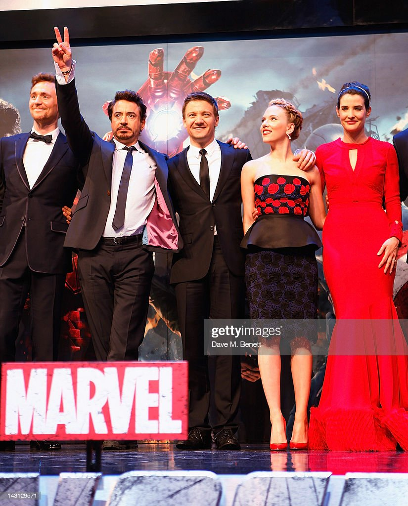 Tom Hiddlestone, Robert Downey Jr, <a gi-track='captionPersonalityLinkClicked' href=/galleries/search?phrase=Jeremy+Renner&family=editorial&specificpeople=708701 ng-click='$event.stopPropagation()'>Jeremy Renner</a>, <a gi-track='captionPersonalityLinkClicked' href=/galleries/search?phrase=Scarlett+Johansson&family=editorial&specificpeople=171858 ng-click='$event.stopPropagation()'>Scarlett Johansson</a>, <a gi-track='captionPersonalityLinkClicked' href=/galleries/search?phrase=Cobie+Smulders&family=editorial&specificpeople=739940 ng-click='$event.stopPropagation()'>Cobie Smulders</a>, <a gi-track='captionPersonalityLinkClicked' href=/galleries/search?phrase=Chris+Hemsworth&family=editorial&specificpeople=646776 ng-click='$event.stopPropagation()'>Chris Hemsworth</a> attends Marvel Avengers Assemble European Premiere at Vue Westfield on April 19, 2012 in London, England.