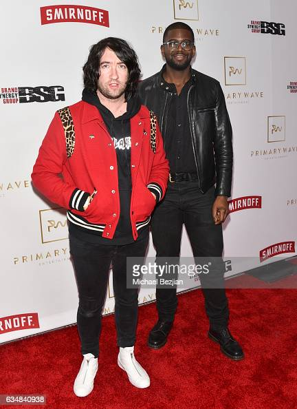 Tom Higgenson and De'Mar Hamilton arrive at Primary Wave Hosts Their 11th Annual PreGrammy In Partnership With Smirnoff Vodka at The London West...