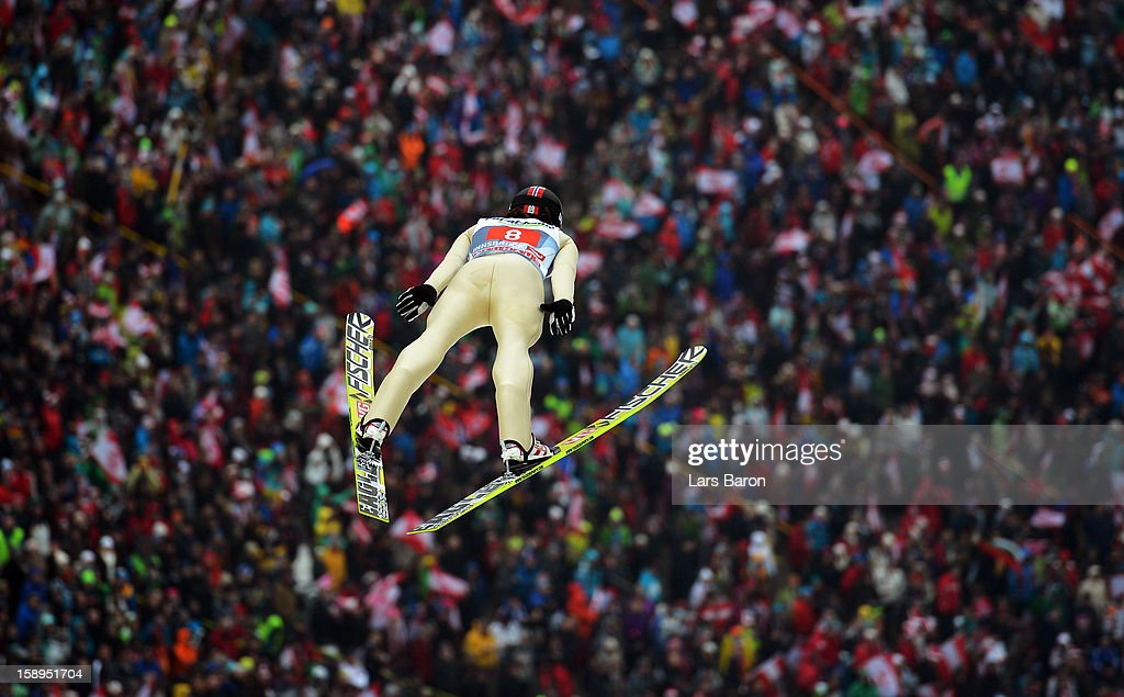 Tom Hilde of Norway competes during the first round for the FIS Ski Jumping World Cup event of the 61st Four Hills ski jumping tournament at Bergisel-Stadion on January 4, 2013 in Innsbruck, Austria.