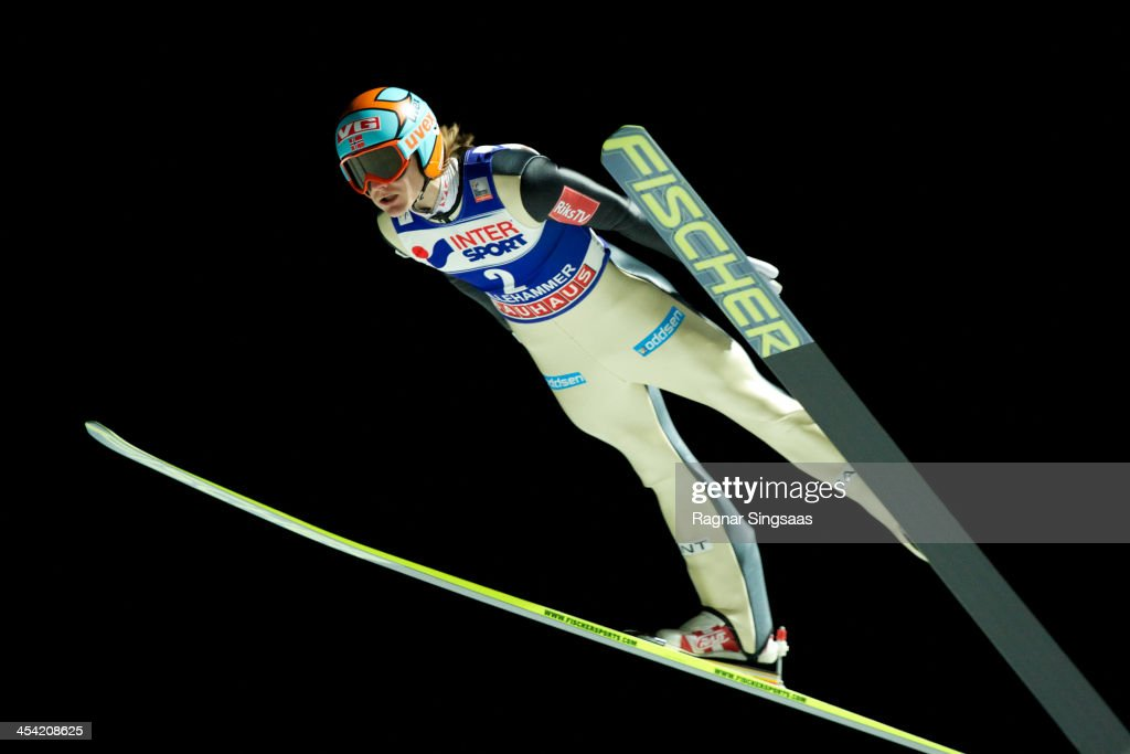 Tom Hilde of Norway competes during the FIS Ski Jumping World Cup Men's HS138 on December 7 2013 in Lillehammer Norway