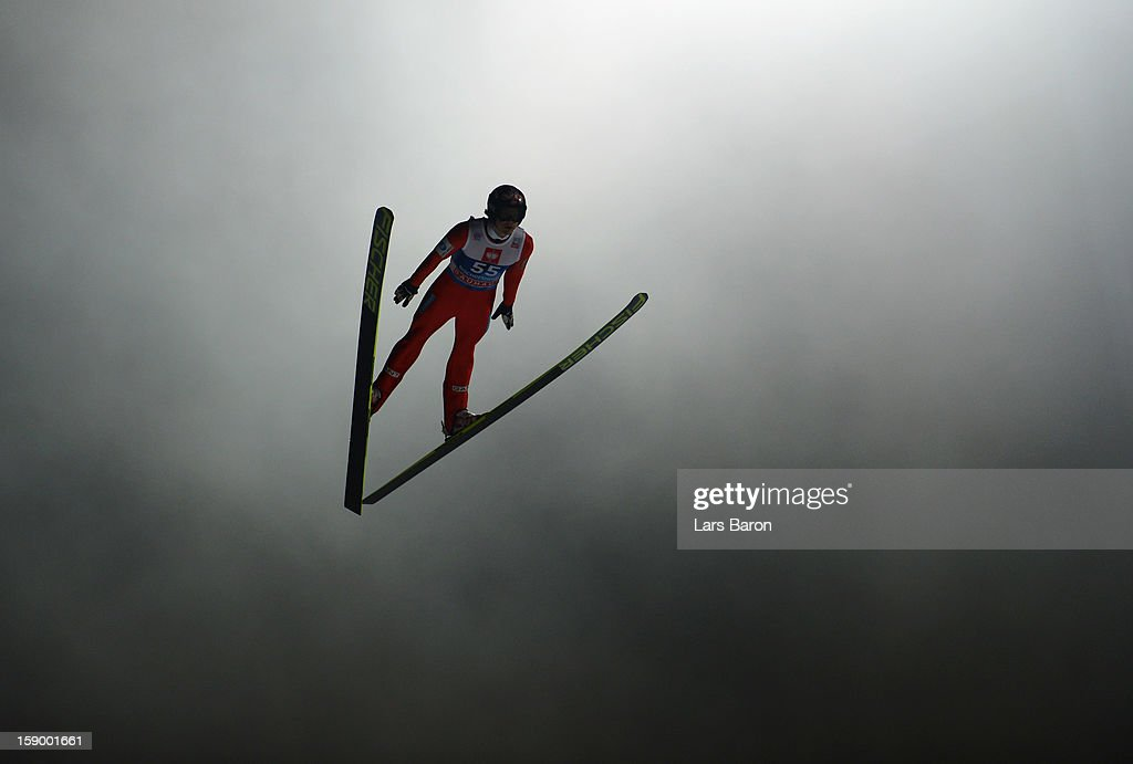 Tom Hilde of Norway competes during the qualification round for the FIS Ski Jumping World Cup event of the 61st Four Hills ski jumping tournament at...