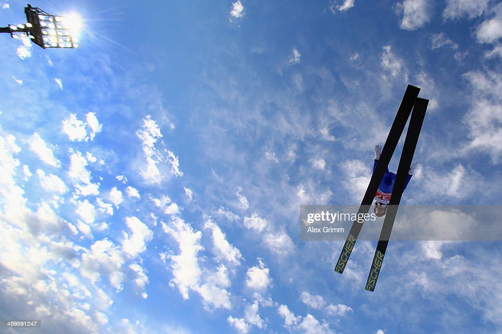 Tom Hilde of Norway competes during the training round on day 1 of the Four Hills Tournament Ski Jumping event at SchattenbergSchanze on December 28...