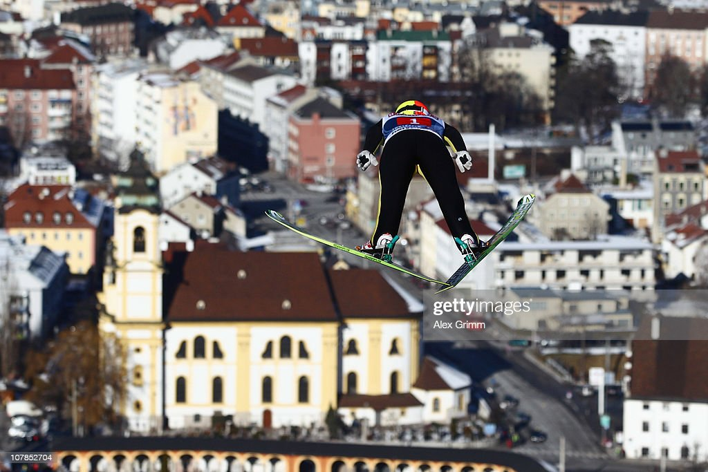 Tom Hilde of Norway competes during the trial round for the FIS Ski Jumping World Cup event of the 59th Four Hills ski jumping tournament at Bergisel...