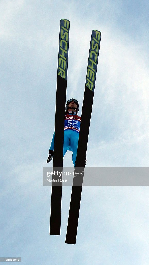 Tom Hilde of Norway competes during the trial round for the FIS Ski Jumping World Cup event of the 61st Four Hills ski jumping tournament at Olympiaschanze on December 31, 2012 in Garmisch-Partenkirchen, Germany.