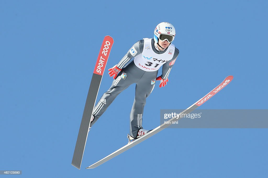 Tom Hilde of Norway competes in the first round in the Large Hill Individual during the day two of FIS Men's Ski Jumping World Cup Sapporo at...