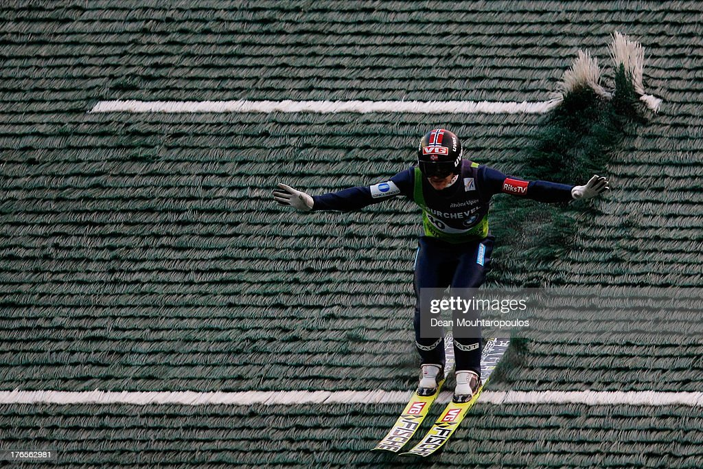 Tom Hilde of Norway competes in the FIS Ski Jumping Grand Prix Mens Large Hill Individual Final on August 15 2013 in Courchevel France