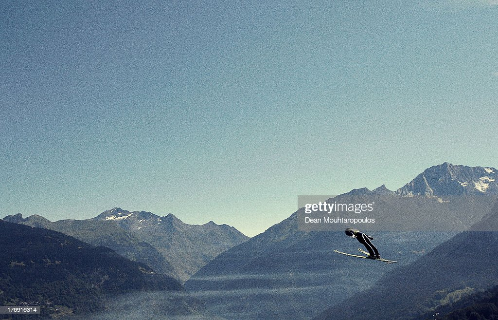 Tom Hilde of Norway competes in the FIS Ski Jumping Grand Prix Mens Large Hill Individual Qualification on August 15 2013 in Courchevel France