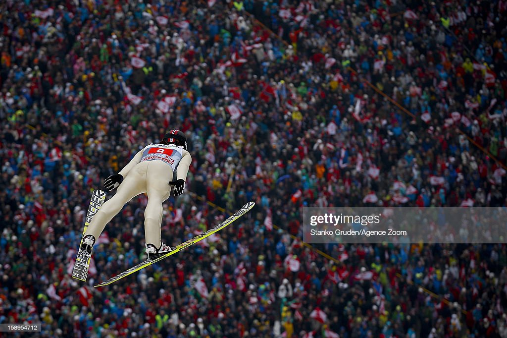 Tom Hilde of Norway during the FIS Ski Jumping World Cup Vierschanzentournee (Four Hills Tournament) on January 04, 2013 in Innsbruck, Austria.