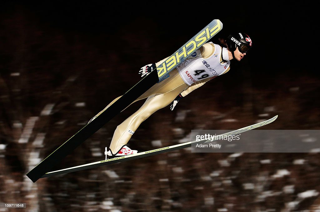Tom Hilde of Norway in action during day one of the FIS Men's Ski Jumping World Cup at Okurayama Jump Stadium on January 19 2013 in Sapporo Japan