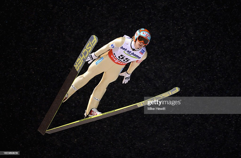Tom Hilde of Norway in action during the Men's Ski Jumping HS106 Qualification at the FIS Nordic World Ski Championships on February 22 2013 in Val...