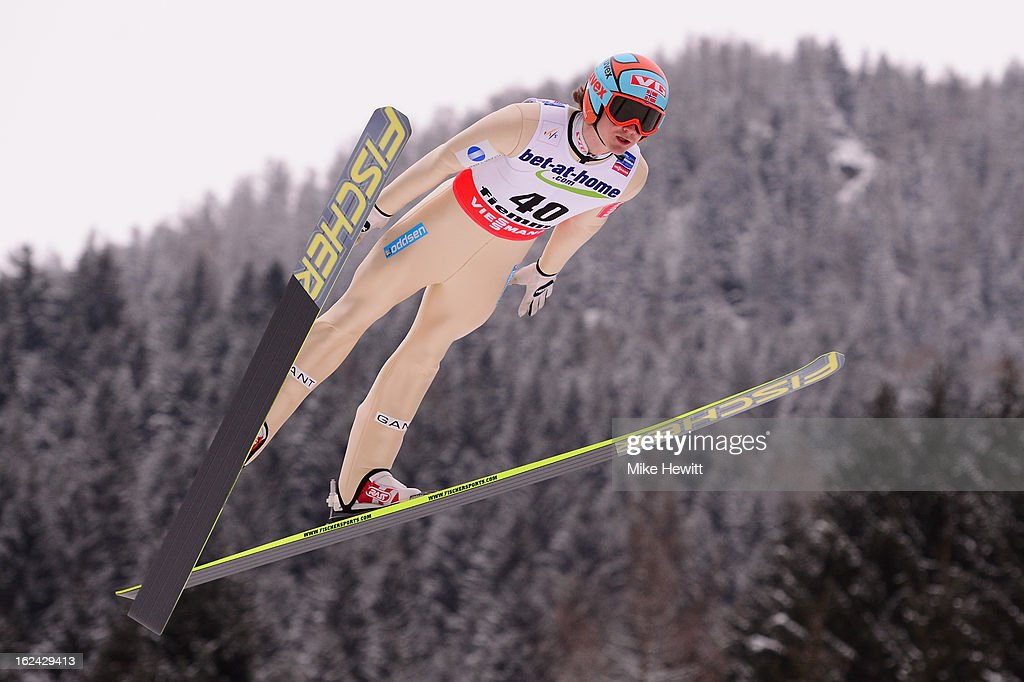 Tom Hilde of Norway in action during the Men's Ski Jumping HS106 Trial Round at the FIS Nordic World Ski Championships on February 23 2013 in Val di...