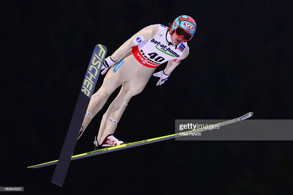 Tom Hilde of Norway in action during the Men's Ski Jumping HS134 First Round at the FIS Nordic World Ski Championships on February 28 2013 in Val di...