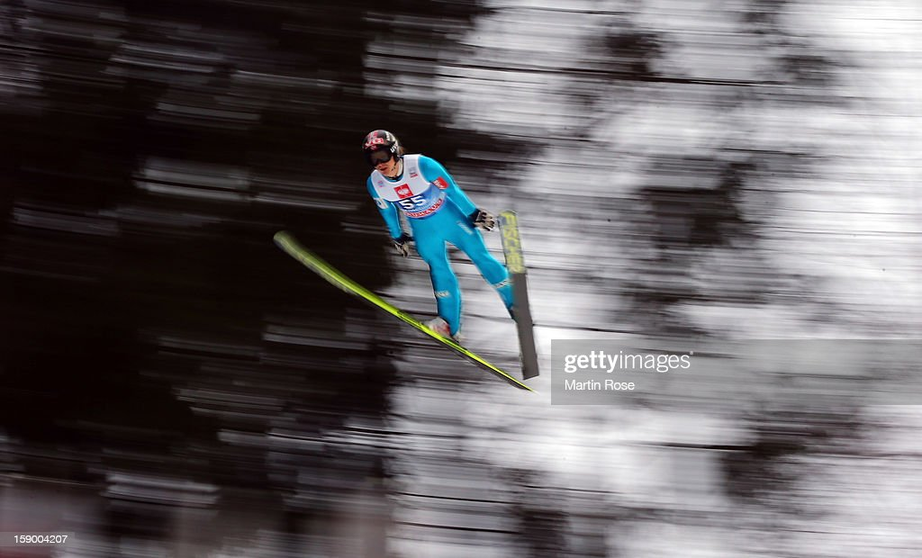Tom Hilde of Norway of competes during the trial round of the FIS Ski Jumping World Cup event at the 61st Four Hills ski jumping tournament at...