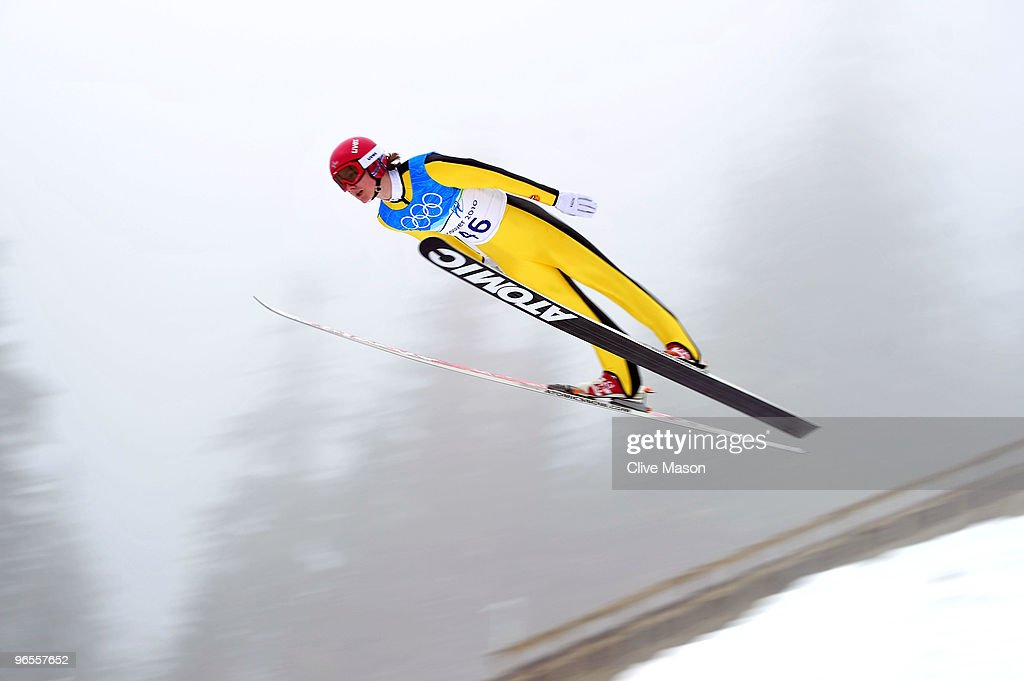 Tom Hilde of Norway performs a jump during a Ski Jumping training session ahead of the Vancouver 2010 Winter Olympics at the Ski Jumping Stadium on...