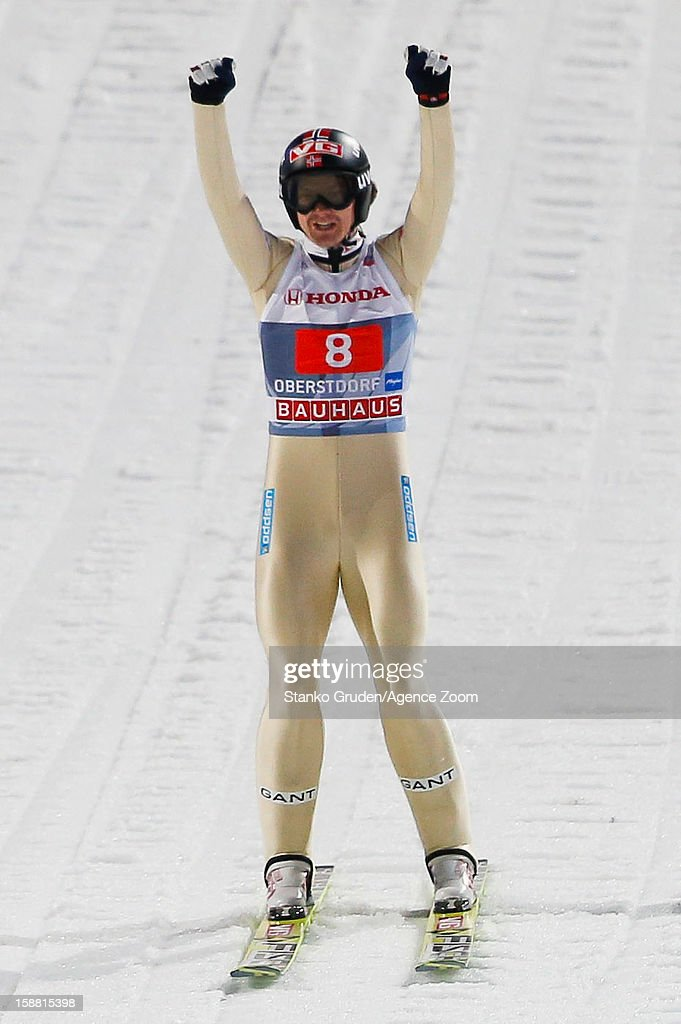 <a gi-track='captionPersonalityLinkClicked' href=/galleries/search?phrase=Tom+Hilde&family=editorial&specificpeople=4147285 ng-click='$event.stopPropagation()'>Tom Hilde</a> of Norway reacts during the FIS Ski Jumping World Cup Vierschanzentournee (Four Hills Tournament) on December 30, 2012 in Oberstdorf, Germany.